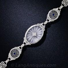 Art Deco Carved Crystal Filigree Bracelet