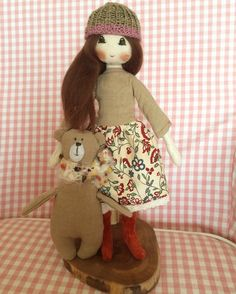 Fabricdoll. Natural, fabric, doll, Design, wool, cotton, handmade.