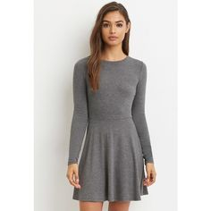 Forever 21 Women's  Heathered Skater Dress (6.340 CLP) ❤ liked on Polyvore featuring dresses, ribbed mini dress, forever 21 dresses, mini dress, long-sleeve maxi dresses and skater dresses