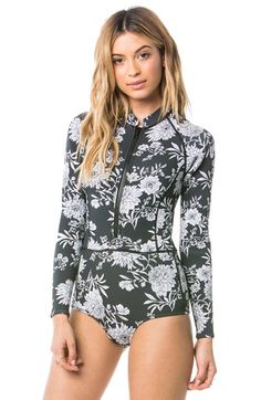 Amuse Society 'Makala' Floral Print Long Sleeve One-Piece Swimsuit available at #Nordstrom