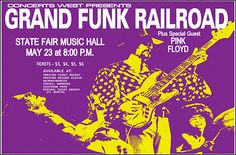 Pink Floyd and Grand Funk Railroad Concert Poster Pink Floyd, Band Posters, Event Posters, Rock Posters, Music Posters, Floyd May, Classic Blues, Classic Rock, Grand Funk Railroad