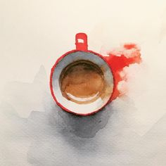 Watercolor espresso coffe, watercolour red cup painting. By Jiri Zraly #watercolorarts