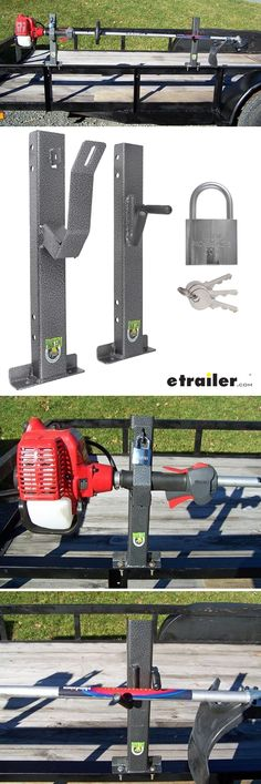 Carry your trimmer or weed wacker simply and securely with this unique trailer rack. Pre-drilled posts attach easily to the supports of your open utility trailer. Locks with included padlock.