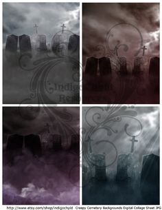 Spooky Cemetery Backgrounds Digital Collage Sheet by indigochyld, $2.75