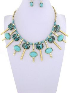 Runway Gold Turquoise Acrylic Stone Statement bejeweled Necklace Earring Chunky