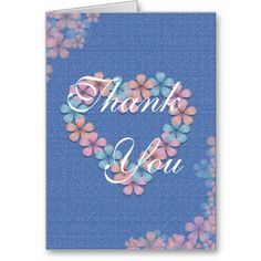 Thank You Heart Flowers Card