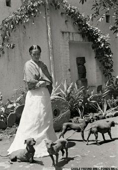 Frida Kahlo dans le  jardin de sa maison avec ses chiensFrida Kahlo - photo Gisèle Freund 1950 / 1952