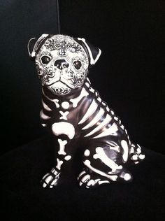 Large DAY OF THE Dead Painted Sugar Skull DOG Statue PUG Figurine Ooak Original | eBay