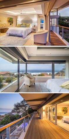 This modern bedroom has an unobstructed view of the ocean, as it can be opened onto a large wrap-around balcony that overlooks the pool below.