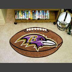 Baltimore Ravens Football Shaped Fan Mat - ManCaveGoodies.com - -