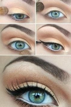 I have green eyes and I tried this and it works great for people with green or hazel eyes!! I added a little extra eyeshadow but I will do this for my everyday makeup!!: