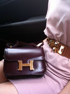 Hermes bag in oxblood, bordeau, deep read, dark purple