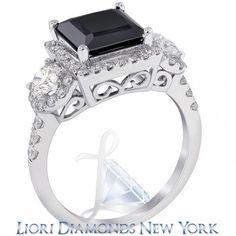 3.77 Carat Princess Cut Natural Black Diamond Engagement Ring 14K White Gold - Black Diamond Engagement Rings - Engagement - Lioridiamonds.com