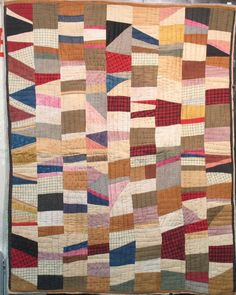 """African American crazy strip bars, 1920-30. Technically, not a """"modern"""" quilt as we refer to that movement today but you'd never pick it from something made now."""