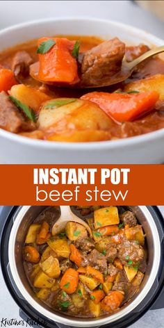 You are going to LOVE this Instant Pot Beef Stew, with tender pieces of beef, potatoes and carrots in a rich and flavorful broth. This pressure cooker beef stew is a quick and easy twist on the classic recipe. It's the best homemade comfort food dinner! Instant Pot Beef Stew Recipe, Best Instant Pot Recipe, Instant Pot Dinner Recipes, Recipe Stew, Recipes Dinner, Instant Pot Pot Roast, Dessert Recipes, Dinner Recipes Easy Quick, Recipe Recipe