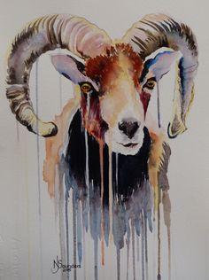 Ram - Watercolour Painting by Nicki Saunders Art Works, Art Painting, Art Shop, Animal Art, Southwest Art, Painting, Art, Goat Art, Sheep Art