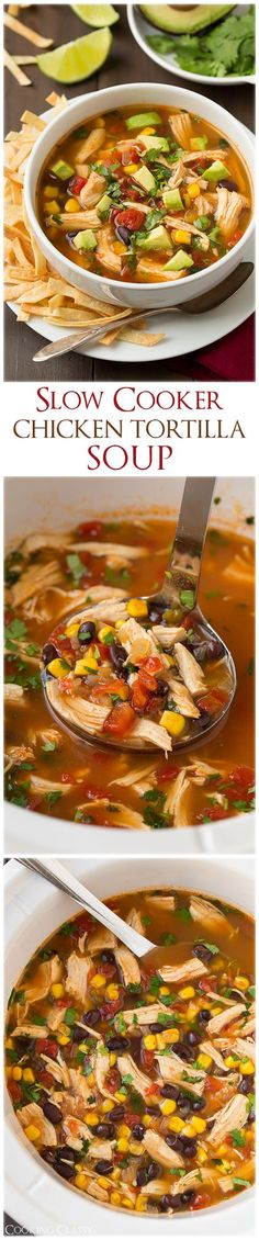 Cooker Chicken Tortilla Soup - this is definitely going to be added to our dinner rotation, LOVED it and it's so easy!Slow Cooker Chicken Tortilla Soup - this is definitely going to be added to our dinner rotation, LOVED it and it's so easy! Crock Pot Recipes, Crock Pot Soup, Slow Cooker Recipes, Soup Recipes, Chicken Recipes, Cooking Recipes, Recipe Chicken, Crockpot Meals, Recipies