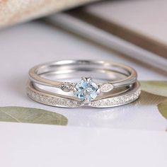 Aquamarine Ring White Gold Engagement Ring Diamond Wedding Band Women Infinity Half Eternity Band Bridal Set Thin Round Cut Antique Unique