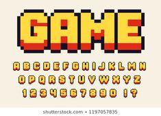Pixel retro font Video computer game design 8 bit letters and numbers Vector alphabet Game Design, Video Game Font, Art Harry Potter, Art Kawaii, Kawaii Disney, Pixel Font, Aesthetic Fonts, Retro Radios, Art Disney