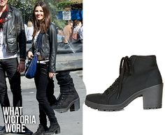 Victoria Justice on set of Naomi & Ely's No Kiss List on October 14th, 2013 wearing MAMBO Canvas Lace Up Boots from Topshop [Thanks to cherlloydstyle]. Unfortunately, they're sold out. But someone is selling them on eBay for $121.18.