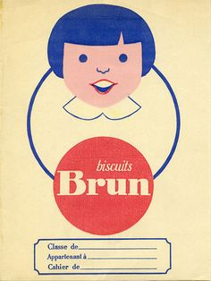Cover note book, with advertising for cookies - protège-cahier Biscuit brun -