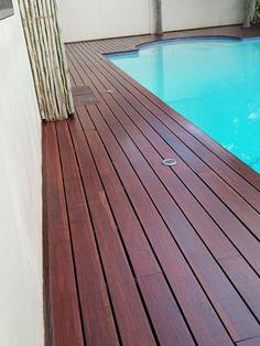 This deck was sealed using Woodoc Water-Borne DECK Teak.