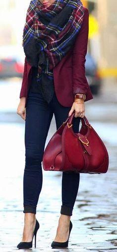 #winter #fashion / burgundy jacket + tartan scarf