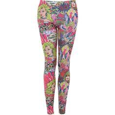 Miss Selfridge Comic Barbie Legging ($49) ❤ liked on Polyvore