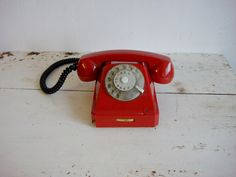 Vintage Rotary Phone / red retro phone Soviet by OldMoscowVintage, $46.00