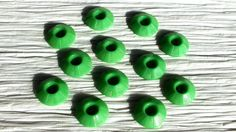 Set of 12 Bright Green Fancy Plastic Vintage Buttons from the 1950s ~ 19mm