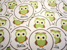 Personalized Name Sage Green Owl Confetti by SweetPaperSprinkles, $1.95
