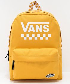 Vans Sporty Realm Yellow Checkerboard Backpack Add color to your everyday travels with the Sporty Realm backpack from Vans. Featured in a mustard yellow colorway complete with white checkerboard and Cute Backpacks For School, Cute Mini Backpacks, Trendy Backpacks, Leather Backpacks, Backpacks For Boys, Leather Bags, Cute Jansport Backpacks, Vans School Bags, Vans Bags