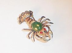Vintage STERLING SILVER LOBSTER Brooch Jade Body With Red stones C R Co Coro Pin #CRCO