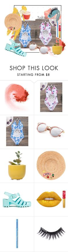 """""""Summer Swimsuit"""" by jennaeliser ❤ liked on Polyvore featuring NARS Cosmetics, Dot & Bo, Hat Attack, JuJu, Lime Crime, Too Faced Cosmetics and Manic Panic NYC"""