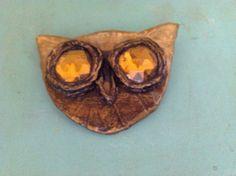 Enid Collins vintage owl brooch pin paper mâché