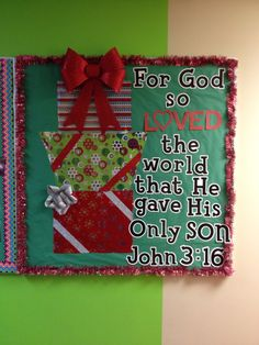 Christmas bulletin board for church.  I saw a painting similar to this so I turned it into a bulletin board.