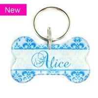 Another pawsome id tag by the fine folks @happy_tags >>>>New --  Blue Damask Dog Bone Pet Tag