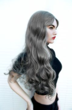 Grey Platinum Fashion Curly Curls Catwalk Hair Cosplay Lush Wig - Worldwide Tracked Delivery