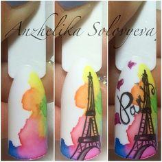 Paris Nail Art, Paris Nails, Crazy Nail Designs, Nail Art Designs, Diy Nails, Cute Nails, Nail Art Modele, Uñas One Stroke, Sculpted Gel Nails