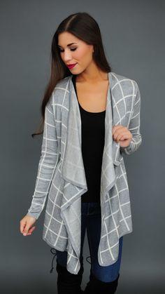 Grey Checkered Cardigan - Dottie Couture Boutique Dottie Couture Boutique, Grey, Sweaters, Closet, Fashion, Gray, Moda, Armoire, Sweater