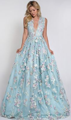 Blue Fairy Floral Dress,Embroidered Prom Dress,Princess Prom Dress,Charming Prom Dress,Custom Prom Dress from prettyladydress Floral Prom Dresses, Princess Prom Dresses, Lovely Dresses, Beautiful Gowns, Beautiful Outfits, Formal Dresses, Formal Wear, Wedding Dresses, Floral Gown