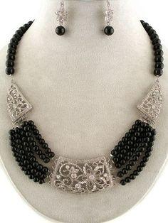 Elegant Black Pearl Marcasite Silver Crystal Decorative Jeweled Art Necklace Set
