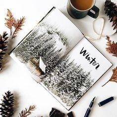 Раскладка инстаграм - зима, альбом и кофе.  #фото #кофе #зима