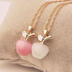 $6.48 Sweet Faux Opal Apple Pendant Golden Alloy Necklace For Women