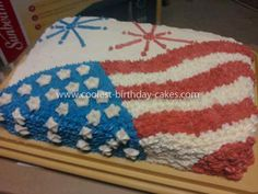 Coolest Fourth of July Cake Fourth Of July Cakes, 4th Of July Desserts, Fourth Of July Food, July 4th, Birthday Cakes For Teens, Cool Birthday Cakes, Wedding Cakes With Flowers, Flower Cakes, Cake Wedding