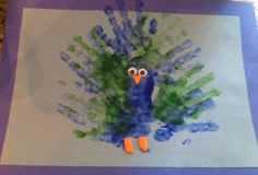 """Peacock infant craft -- would be good for """"zoo animals"""" lesson plan"""
