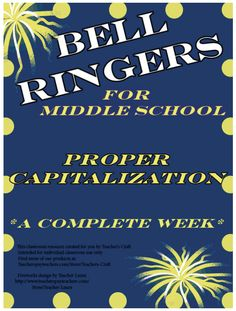 """FREE LANGUAGE ARTS LESSON - """"Middle School ELA Bell Ringers - Capitalization"""" - Go to The Best of Teacher Entrepreneurs for this and hundreds of free lessons."""