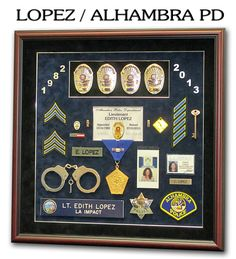 Police Shadowboxes from Badge Frame. Alhambra PD / LOPEZ
