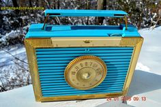 CLEOPATRA Teal and Gold Vintage Antique Mid Century 1955 Bulova Companion Model 206 Portable Tube AM Radio Bling! Bling!
