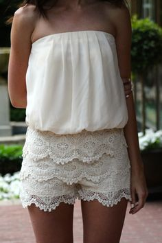 Strapless Lace Romper, Ivory
